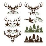 Etiquetas de la caza y de la pesca del vintage y elementos del diseño Imagen de archivo