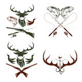 Etiquetas de la caza y de la pesca del vintage y elementos del diseño Imagenes de archivo