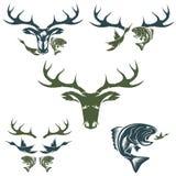 Etiquetas de la caza y de la pesca del vintage y elementos del diseño Foto de archivo