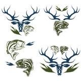 etiquetas de la caza y de la pesca y elementos del diseño Imagenes de archivo