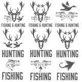 etiquetas de la caza y de la pesca y elementos del diseño Imagen de archivo libre de regalías