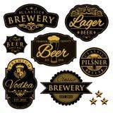 Etiquetas de la cervecería del vintage Fotografía de archivo libre de regalías