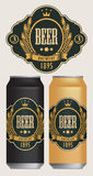 Etiquetas de la cerveza del vector para dos latas de cerveza stock de ilustración