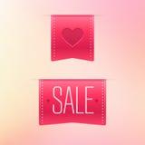 Etiquetas de la cinta del día de tarjetas del día de San Valentín Fotos de archivo libres de regalías