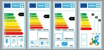 Etiquetas de la energía Fotografía de archivo