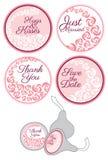 Etiquetas de la etiqueta engomada del caramelo con el sistema de la rosa Fotos de archivo libres de regalías