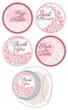 Etiquetas de la etiqueta engomada del caramelo con el sistema de la rosa Foto de archivo libre de regalías
