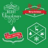 Etiquetas de la Feliz Navidad, etiquetas de la bandera y elementos fotos de archivo libres de regalías