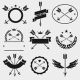 Etiquetas de la flecha del arco y sistema de elementos Vector libre illustration