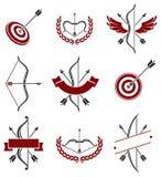 Etiquetas de la flecha del arco y sistema de elementos Vector Imagen de archivo libre de regalías