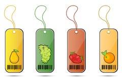 Etiquetas de la fruta Foto de archivo