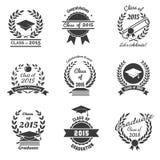 Etiquetas de la graduación High School secundaria y enhorabuena libre illustration