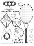 Etiquetas de la liga del tenis, emblemas y elementos del diseño Vector Imágenes de archivo libres de regalías
