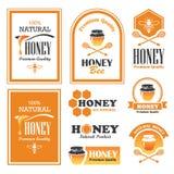 Etiquetas de la miel Fotografía de archivo libre de regalías