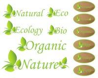 Etiquetas de la naturaleza y de la ecología Imágenes de archivo libres de regalías