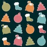 Etiquetas de la Navidad stock de ilustración