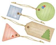 Etiquetas de la Navidad, conjunto de cuatro Imágenes de archivo libres de regalías