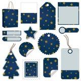 Etiquetas de la Navidad del azul y del oro Foto de archivo