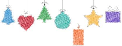 etiquetas de la Navidad del garabato Fotos de archivo