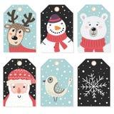 Etiquetas de la Navidad fijadas con los caracteres lindos ilustración del vector