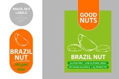 Etiquetas de la nuez de Brasil con los elementos coloridos Nueces exhaustas de la historieta Insignia del producto de la nuez libre illustration