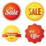 Etiquetas de la oferta del rojo y del amarillo Imagen de archivo libre de regalías