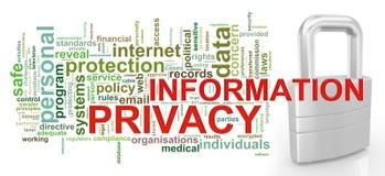 Etiquetas de la palabra de la privacidad de la información Imagenes de archivo