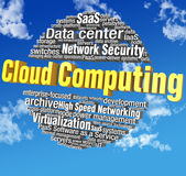 Etiquetas de la palabra de la tecnología de ordenadores de la nube Imagen de archivo libre de regalías