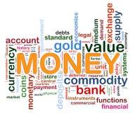 Etiquetas de la palabra del dinero Fotos de archivo libres de regalías