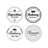 Etiquetas de la panadería y de las magdalenas Fotos de archivo libres de regalías