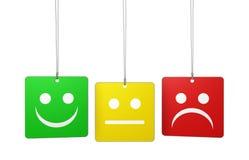 Etiquetas de la reacción de la calidad del servicio de atención al cliente Imagen de archivo