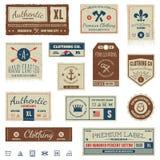 Etiquetas de la ropa vintage Imágenes de archivo libres de regalías