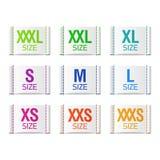 Etiquetas de la talla de ropa Imágenes de archivo libres de regalías