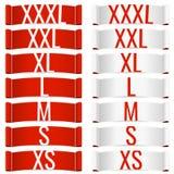 Etiquetas de la talla de ropa ilustración del vector