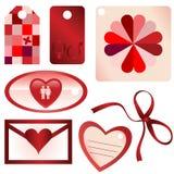 Etiquetas de la tarjeta del día de San Valentín Foto de archivo
