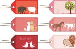 Etiquetas de la tarjeta del día de San Valentín Imagen de archivo libre de regalías