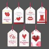 Etiquetas 2 de la tarjeta del día de San Valentín Imagen de archivo libre de regalías