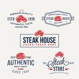Etiquetas de la tipografía del vintage del asador o de la tienda de la carne, emblemas, Logo Templates Muestras fijadas stock de ilustración