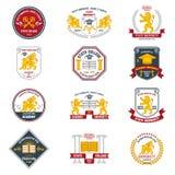 Etiquetas de la universidad coloreadas Imagen de archivo