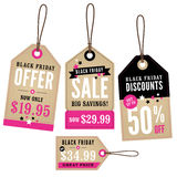 Etiquetas de la venta al por menor de Black Friday Foto de archivo
