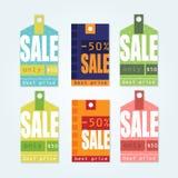 Etiquetas de la venta con los mensajes de la venta Fotografía de archivo libre de regalías