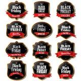 Etiquetas de la venta de Black Friday Foto de archivo libre de regalías