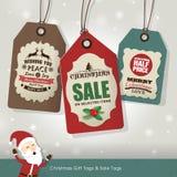 Etiquetas de la venta de la Navidad Foto de archivo