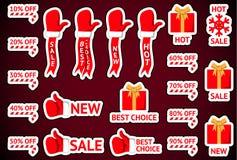 Etiquetas de la venta de la Navidad Imágenes de archivo libres de regalías