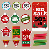 Etiquetas de la venta de la Navidad Imagen de archivo libre de regalías