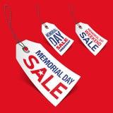Etiquetas de la venta de Memorial Day Fotos de archivo libres de regalías
