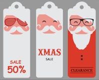Etiquetas de la venta de santa del inconformista de la Navidad stock de ilustración