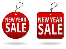 Etiquetas de la venta del Año Nuevo stock de ilustración
