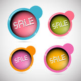 Etiquetas de la venta del círculo, etiquetas fijadas ilustración del vector