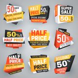 Etiquetas de la venta de medio precio Descuento especial de la oferta del fin de semana, 50 de banderas de la venta y colección d ilustración del vector